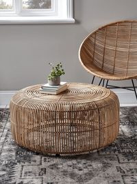 Flat Rattan Side Table - Natural - Flat Rattan Furniture - Designer Furniture Collections - Luxury Home Furniture