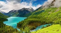 Beautiful mountain lake hd image screensaver
