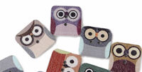 Pack of 50 Square Assorted Wood Owl Buttons. 15mm Animal Theme Wooden Accessory £6.99