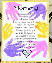 I just had to share this adorable Mother's Day gift idea for mom from Todder Time Tips! It's a darling little poem that will surely melt mama's heart (as well as make the greatest keepsake). Who doesn't love those tiny hand...