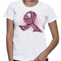 reast Cancer Fighter shirts with empowering words of strength, fight, hope, awareness and more set in our original pink ribbon. Ribbon is Our Copyrights. Our shirts are printed on demand on Gildan Ladies Classic Fit styles. Our designs are created by canc...