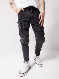 MENS STREET STYLE WASHED BLACK JEANS 4642 $95.00