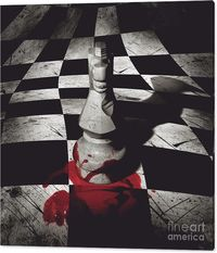 Gaming Room Canvas Art | Dark artistic photo of a stone knight checkmating another player in a reflective pool of blood from a tactical advance of fraudulence and tyranny | #chess #gamingart #gamesdecor #gamerroom #gameroom #chesswallart #chessroom #horro...
