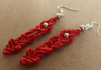 Handmade Red Waxed Cord and Silver Beads Macrame Drop Earrings £6.99