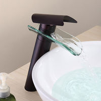 Oil Rubbed Bronze Waterfall Bathroom Sink Faucet (Tall)