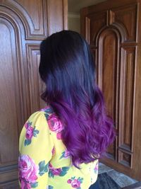 Purple Ombre hair with curly long layers. #StyledByKate at Mecca Salon 916-690-7891 Instagram: StyledByKate