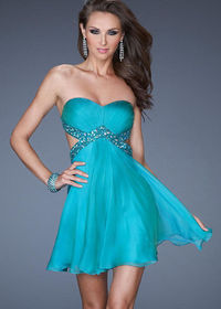 Peacock Beaded Strapless Cut-out Mini Homecoming Dress Cheap