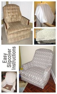 Most re-upholstery instructions say to rip off the original fabric and use it as a template, but this post says to use thrifted bed sheets as a template - great idea. You have the original chair intact and a cross between a reupholstered piece and slip co...
