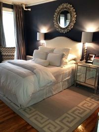 Love the look of this bedroom. Maybe not Navy on the walls.