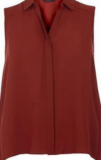 Dorothy Perkins Womens Terracotta Sleeveless Shirt- Orange Terracotta dip back sleeveless shirt with collar detail. 100% Polyester. Machine washable. http://www.comparestoreprices.co.uk//dorothy-perkins-womens-terracotta-sleeveless-shirt-orange.asp