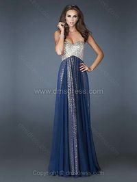 Empire Sweetheart Chiffon Sequined Floor-length Beading