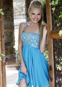 2014 Saprkly Top Straps Short Light Blue Prom Dress