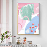 Modern art Abstract acrylic paintings on canvas Pink and blue painting texture Large Wall Pictures framed wall art cuadros abstractos $123.75