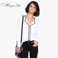Vogue V-neck High Neck Chiffon White 9/10 Sleeves Blouse - Bonny YZOZO Boutique Store
