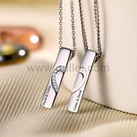 Gullei.com Engraved Half Hearts Couples Necklaces Gift for Two
