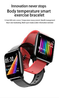SENBONO L8 1.3 inch HD Touch Screen Real-Time Body Ambient Temperature Heart Rate Monitor Breathe Training Call Reject Smart Watch