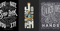 All these have super eye catching typography that isnt to in your face but still really attractive and fun to look at. They have so much detail but it is still very clear what i am reading and what the theme is.