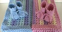 Crochet Baby Blankets and Matching Bootees