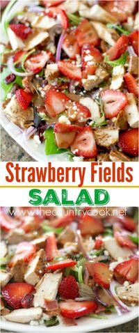 Strawberry Fields Salad recipe from The Country Cook. One of my favorite salads. They flavors come together SO well and the Marzetti® Simply Dressed® Balsamic Salad Dressing takes it over the top! #fortheloveofproduce #ad