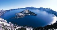 Giant crater lake - The crater lake at Crater Lake National Park in Oregon was formed about 150 years ago by the collapse of the volcano Mount Mazama. PIC BY FRANCOIS GOHIER / ARDEA / CATERS NEWS