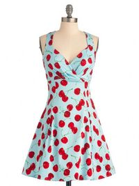 Blue Cherry Printed Sleeveless Hepburn Style Dress