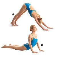 This was my favorite thing to do when I took yoga. - Starting in a pushup position, lift your hips and move into the downwardfacing dog pose, keeping your legs straight and heels just off the floor (A). From that position, drop your hips toward th...