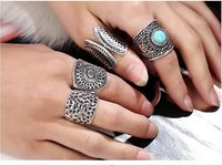 2017 new Gypsy 4pcs/Set Vintage Punk Rings Unique Carved Antique Silver Totem Lucky Rings for Women Boho Beach bohemian Jewelry $20.38