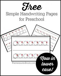 Today I'm sharing a set of free handwriting pages for preschool -- this time in lowercase! If you follow my blog, you know that I don't recommend doing a ton of