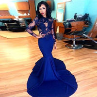 Long Sleeve Prom Dresses 2017 Gorgeous O-neck Top Lace Floor Length Stretch Satin Mermaid Royal Blue African Prom Dress