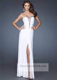 Long White Beaded Cut Out Prom Dress With Splits