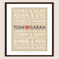Cute wedding gift idea! -Famous Couples Subway Print - 8x10 Fully Customizable - Unique Wedding, Valentines or Anniversary. $13.95, via Etsy.