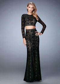 Beautiful Two Piece Long Sleeves Beaded Lace Black Evening Dress