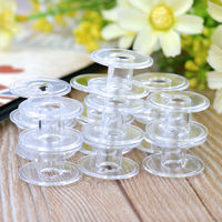 Pack of 20 Mini Transparent Plastic Bobbins. 19mm Sewing Machines & Thread Storage Spools. £4.09
