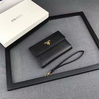 Prada 1M1426 Lettering Logo Saffiano Leather Wallet In Black