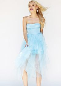 Sequined Strapless Tulle Light Blue 2014 Sale Party Dress