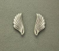 Small Wing Shaped Silver Magnetic Non Pierced Clip Earrings $30.00 Designed by LauraWilson.com