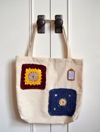 Handmade tote bag with twin crocheted squares by TheScarletBobbin