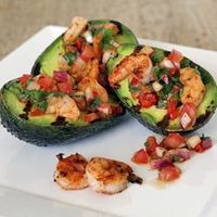 Warm and creamy grilled avocados with spicy grilled ...