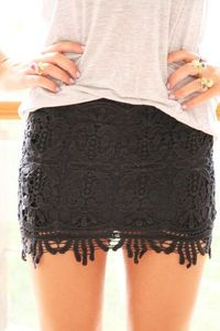 This soft tee and black lace skirt combo is extremely versatile, and with the right accessories, footwear and finishing touches you can create a really powerful