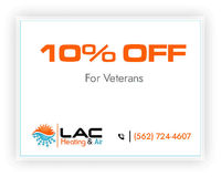 LAC Heating & Air is providing 10% off on services for veterans.Contact us at 562-724-4607 to grab the deal.