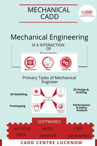 Mechanical engineers design is an interaction of material science, physics, engineering. The primary tasks of a mechanical engineer are 3D modeling, prototyping read more ........