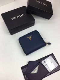 Prada 1M0522 Lettering Logo Saffiano Leather Wallet In Blue