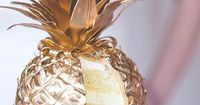 Gold Pineapple Cake Colorful Wedding Inspiration Featured On Midwest Bride