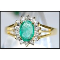 Solitaire 18K Yellow Gold Diamond Wedding Emerald Ring [RS0047]