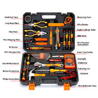 33Pcs Multi-function Combination Tool Kit Multimeter Soldering Iron Wrench Screwdriver Hammer Repair Tools Set With Storage Case