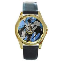 Batman (Vintage Look) on a Mens Gold Tone Watch with Leather Band $32.00
