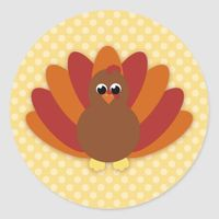 Cute Cartoon Thanksgiving Turkey Classic Round Sticker
