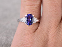 2.81CTW OVAL CUT BLUE TANZANITE AND DIAMOND ENGAGEMENT RING 14K WHITE GOLD FLORAL