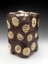 Goro Suzuki - Set of 4 Stacked Boxes #pottery #Japanese pottery #ceramics #Japanese ceramics #box