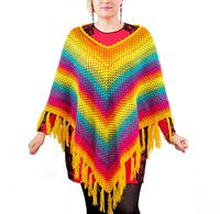 Rainbow warm poncho as Christmas gift for mother or daughter. Plus size gypsy festival clothing. Gypsy poncho $110.00